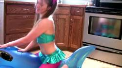 18 Yo Pigtailed Girl Grinds Inflatable Whale To Orgasm