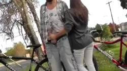Girl Gives Boyfriend A Handjob And Sucks His Cock In Public